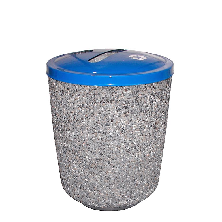 Exposed Aggregate Cement Trash Can w/ Recycling Lid: RC-1-25