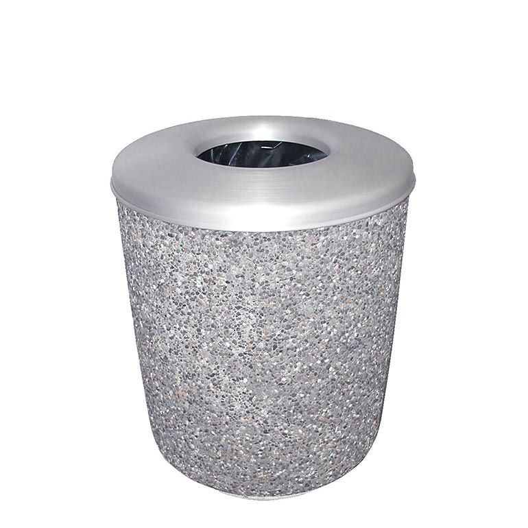 Exposed Aggregate Cement Trash Can: WR-1-25