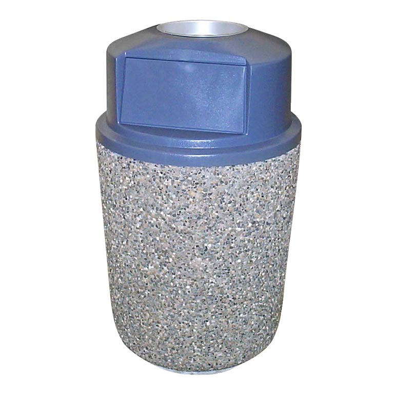Exposed Aggregate Waste Receptacle w/ Lid and Ash Urn: WR-3-25-RS