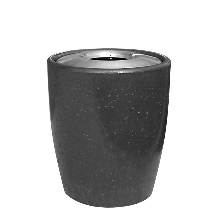 Graphite stained concrete waste receptacle from our Xinh collection.