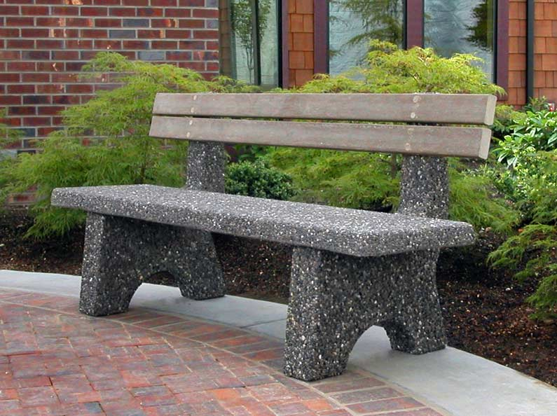 Exposed aggregate stone benches.
