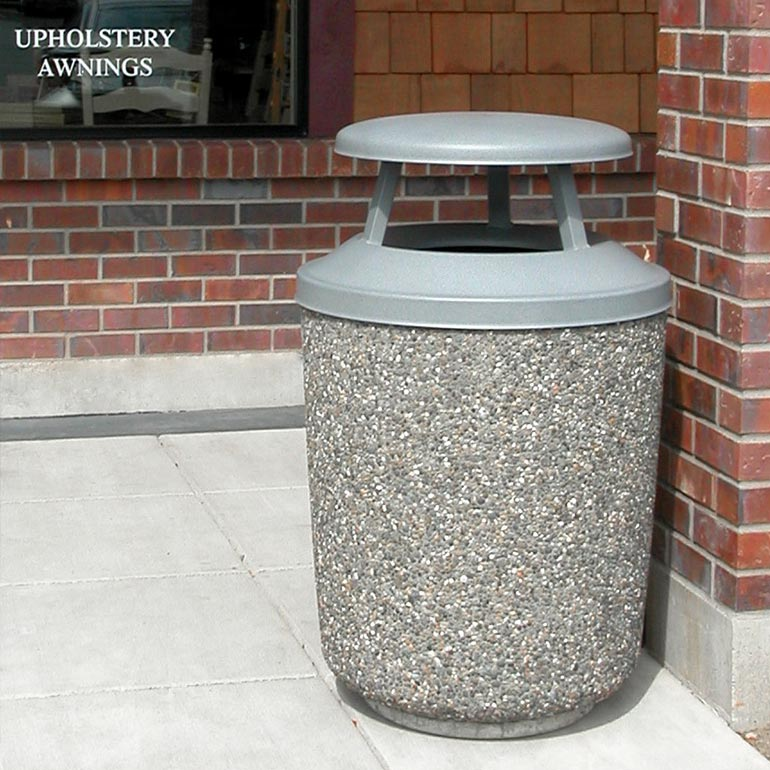 Concrete exposed aggregate trash cans / receptacles and cement waste receptacles.