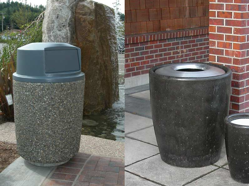 Both aggregate stone and stained concrete finishes available in our waste receptacle product line.