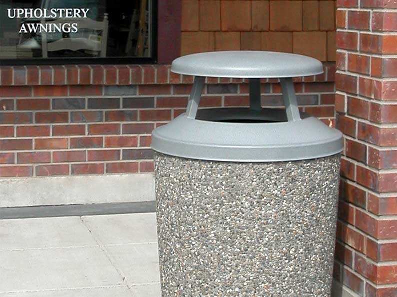 Exposed Aggregate Stone Trash Can