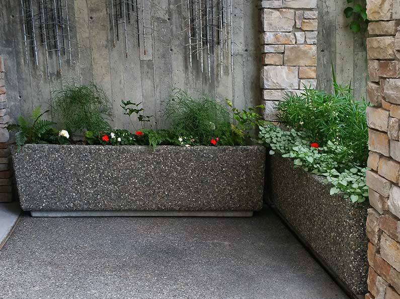 Long Rectangular Aggregate Stone Planters