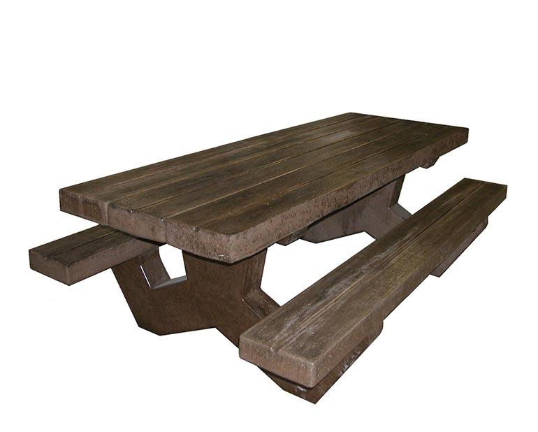 Concrete picnic table and benches that look like real wood.