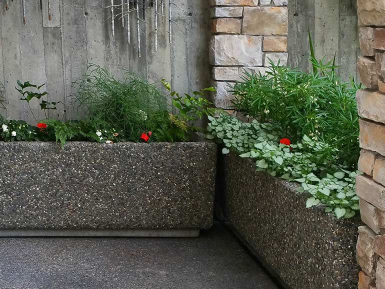 Rectangular concrete planters and rectangle cement planter boxes.