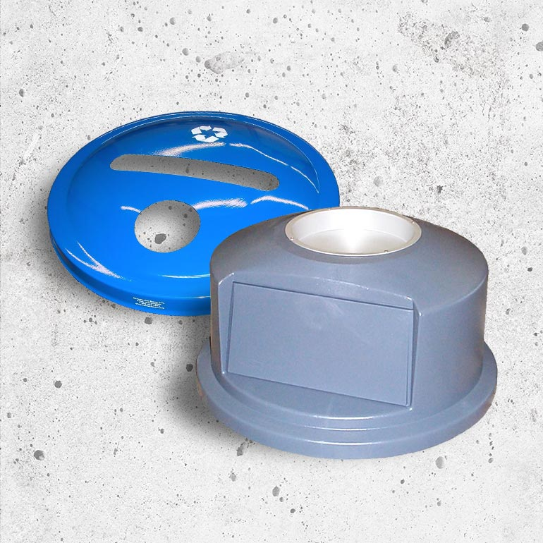 Replacement parts for concrete waster receptacles and trash cans.
