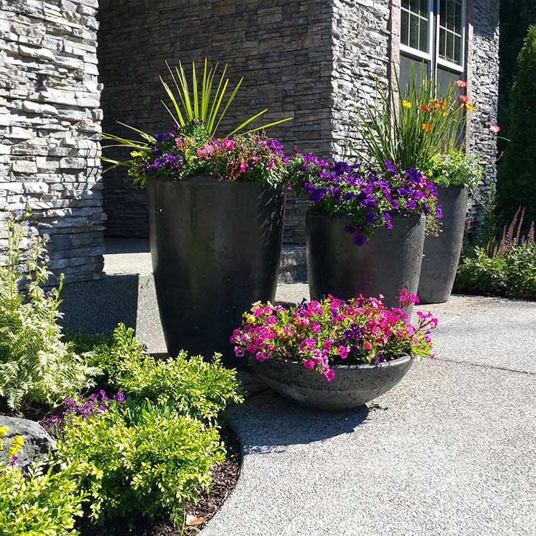 Tall concrete planter pots.