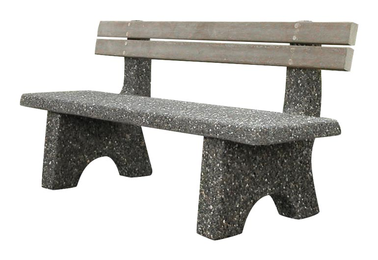 Straight Concrete Bench w/ Back - Cement Park Furniture Model: SB-4-72BK
