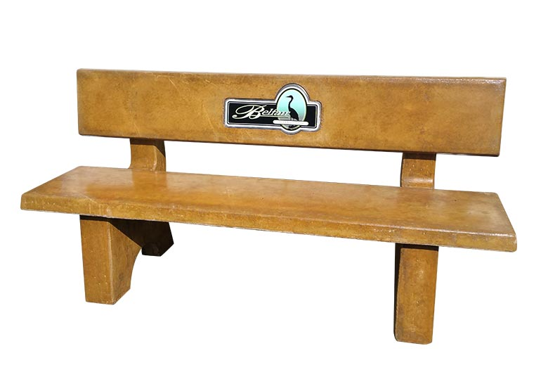 Straight Cocrete Park Bench w/ Cement Back: SB-4-72BK (seen in Tuscan Gold stain)