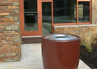 Concrete Trash Cans - Bark Stain