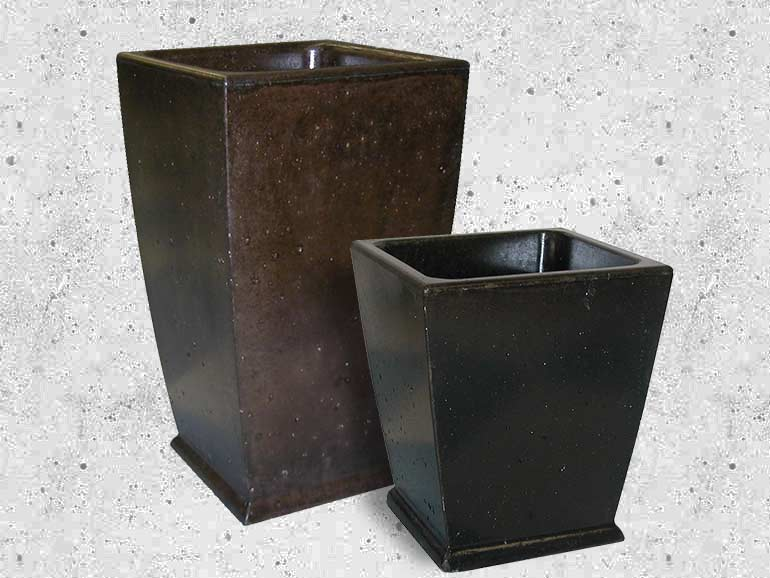 Far East Tall Concrete Planters and cement pots from Ornamenal Stone Inc.
