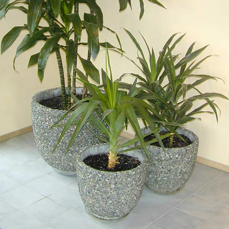 Verandah Concrete planters and exposed aggregate cement pots by Ornamental Stone Inc.