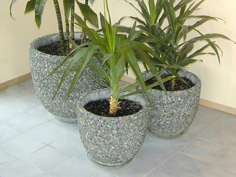 Verandah Concrete Cement Planters - Exposed Aggregate Stone