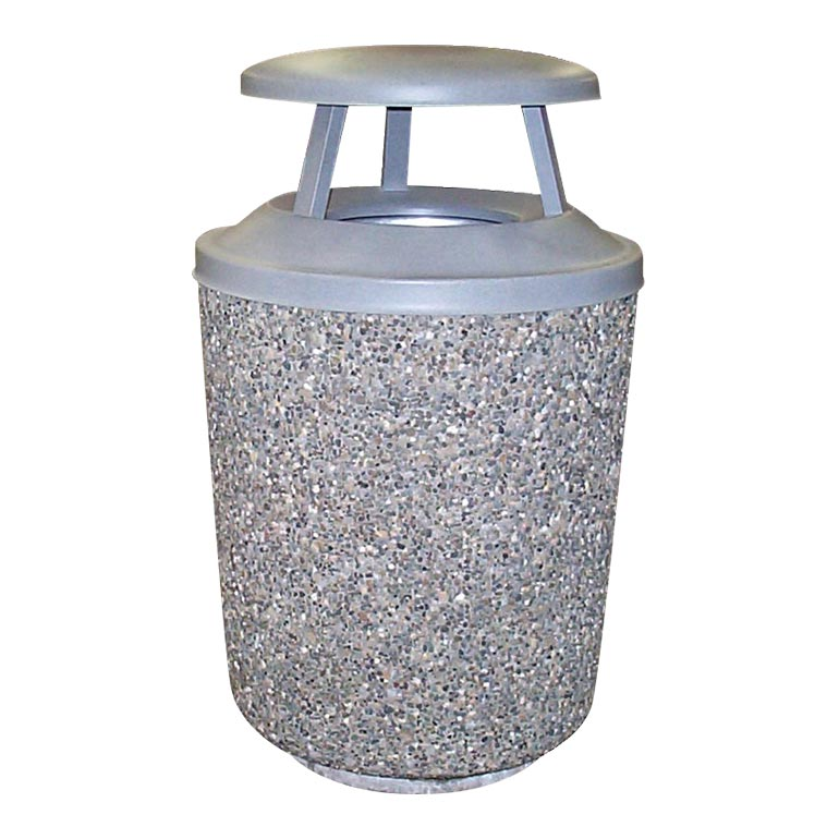 Exposed Aggregate Cement Trash Can: WR-6-25MC
