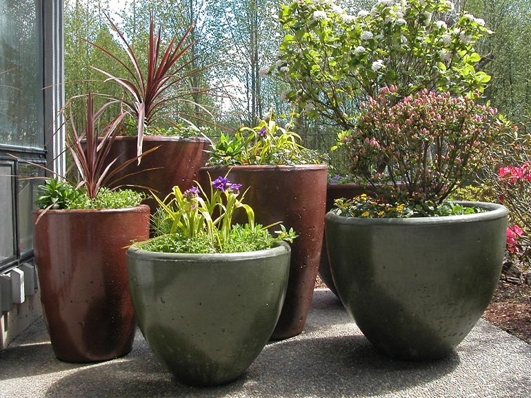Xinh Concrete Planters - a beautiful collection of stained cement pots and bowels!