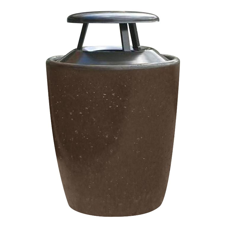 Bark stained cement trash can from our Xinh collection.